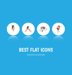 flat icon smartphone set of accumulator vector image vector image