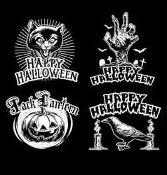 halloween vintage design set vector image
