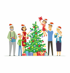 happy family decorates christmas tree - cartoon vector image
