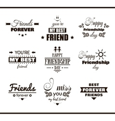 Happy friendship day set labels vector