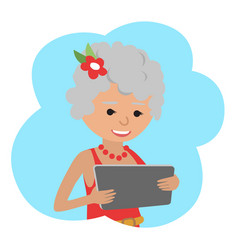 happy senior woman with tablet in hands vector image vector image