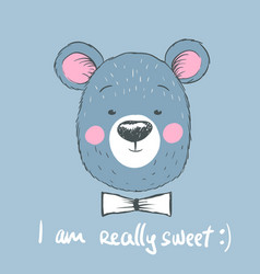 head of cute blue bear vector image