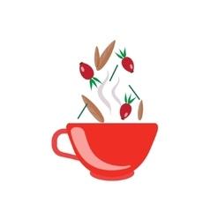 Hibiscus tea in red cup vector