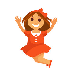 Jumping little girl with smile in red dress vector