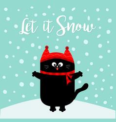 Let it snow black cat kitten red hat scarf vector