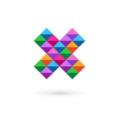 Letter x mosaic logo icon design template elements vector