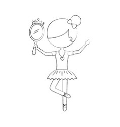 little girl dancer ballet holding princess mirror vector image
