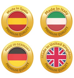 Made in spain italy germany united kingdom badges vector