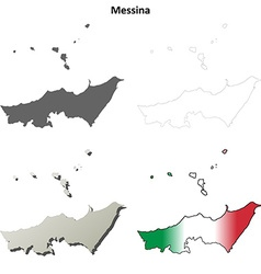 Messina blank detailed outline map set vector