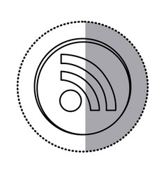 Monochrome contour with circle sticker of wifi vector
