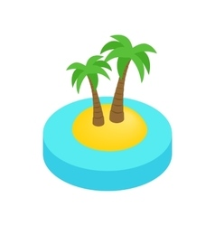 Palms on the island isometric 3d icon vector