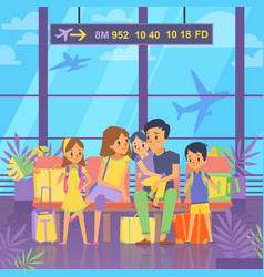 people goes to vacation sitting in airport vector image