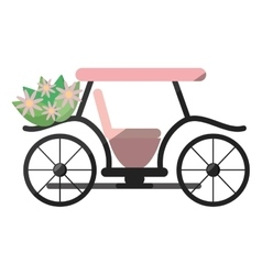 Pink marriage carriage with bucket flowers vector