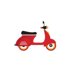 Red retro vintage delivery motor bike icon vector