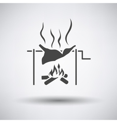 Roasting meat on fire icon vector image