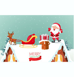 Santa claus with reindeer coming to house vector