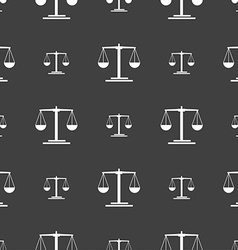 Scales icon sign seamless pattern on a gray vector