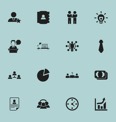 Set of 16 editable job icons includes symbols vector