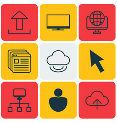 Set of 9 web icons includes human website vector