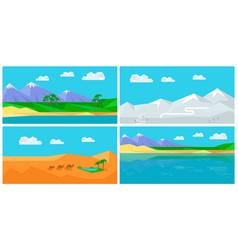 set of natural landscapes in flat vector image vector image