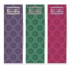 Set of three colorful cupcakes vertical banners vector