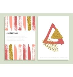 Set of trendy posters with gold glitter texture vector image
