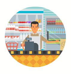 Supermarket in flat design vector