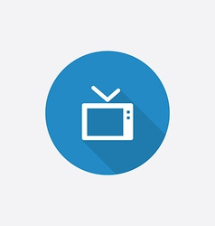 tv Flat Blue Simple Icon with long shadow vector image