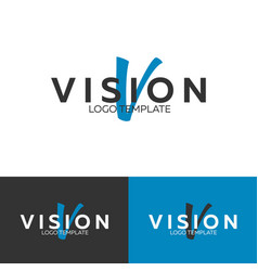 vision logo letter v logo logo template vector image