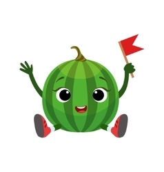 Watermelon character sitting emoji sticker with vector