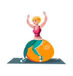 Woman working out on fitness ball vector