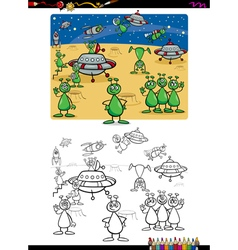 aliens group coloring book vector image