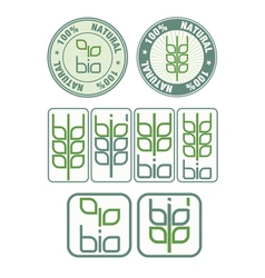 Stamps and icon with bio symbol vector