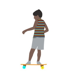 a little boy in a striped t-shirt skateboarding vector image