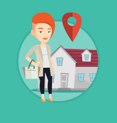 Realtor on background of house with map pointer vector