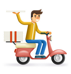 Pizza 3d realistic delivery courier motorcycle vector