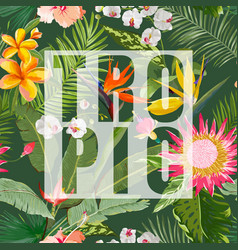 Tropical floral summer graphic vector