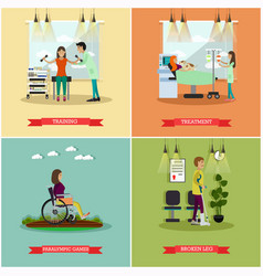 Set of disabled people posters in flat vector