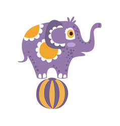 Cute cartoon elephant character standing on a ball vector