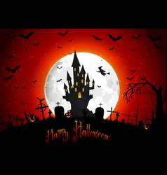 Halloween scary house on full moon background vector