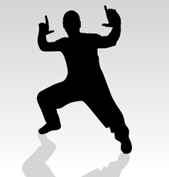 Fighter pose one silhouette vector
