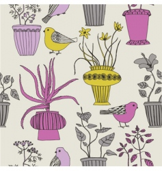 plants and birds vector image