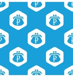 Ruble purse hexagon pattern vector