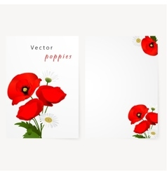 Template card with chamomile and red flowers vector