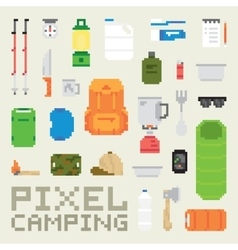 Pixel art camping goods isolated objects vector