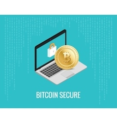 Bitcoin secure with laptop and lock vector