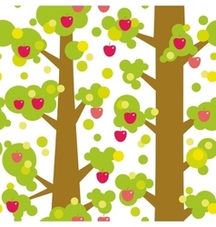 Seamless pattern - large trees with red apples and vector image