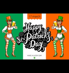 Cute girl serving saint patricks day beer - banner vector
