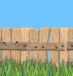 Wooden fence and blue sky old wooden planks and vector
