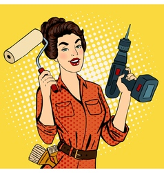 Girl with roller brush and drill doing repairs vector